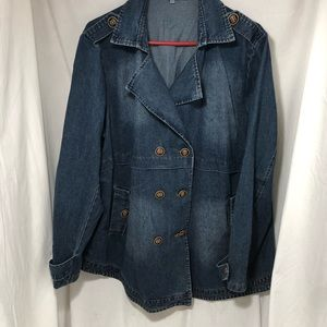 Jean Jacket Pea Coat double breasted vintage XXL